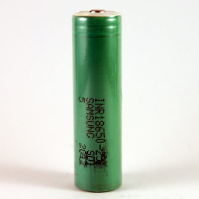 The Samsung 25R 18650 button top 2500mAh battery.